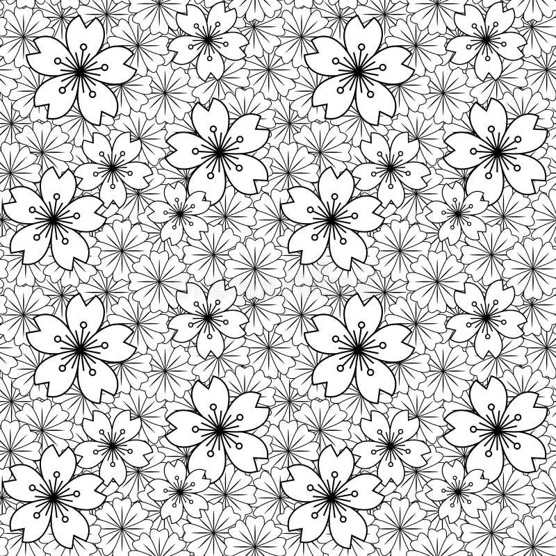 Sömlös bakgrundsbild av den svarta vita modellen för kors för japansakura blomma stock illustrationer