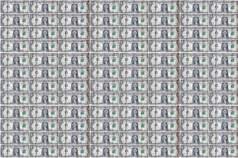 Sömlös bakgrundsbild i dollar Pengar Pile $1 dollar växlar Penningplånbok arkivfoto
