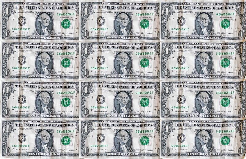 Sömlös bakgrundsbild i dollar Pengar Pile $1 dollar växlar Penningplånbok fotografering för bildbyråer