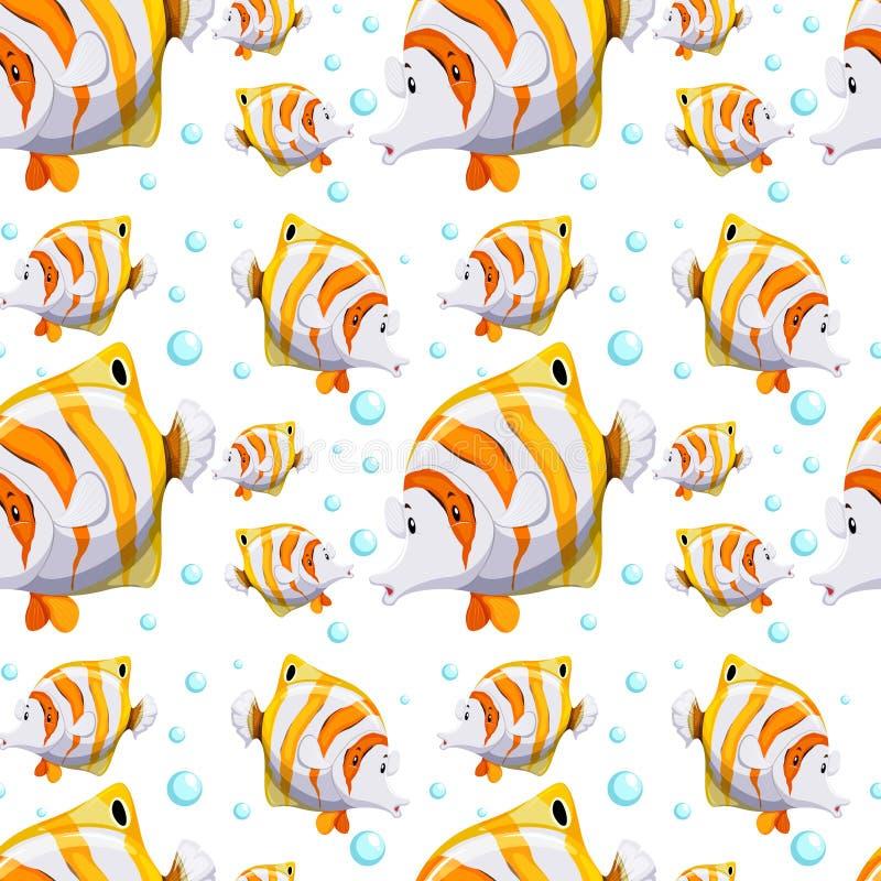 Sömlös bakgrundsdesign med fisken och bubblor royaltyfri illustrationer
