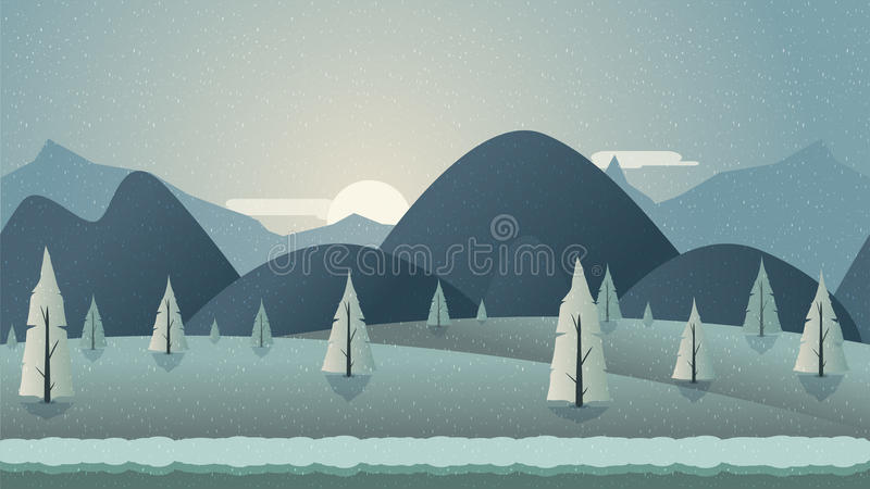 Sömlös bakgrundsillustration för berg för mobilen app, rengöringsduk, lek med snö och is royaltyfri illustrationer