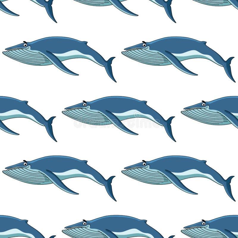 Sömlös bakgrundsmodell av blåa val vektor illustrationer