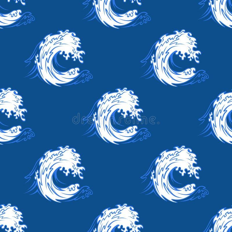 Sömlös bakgrundsmodell av en krullande våg stock illustrationer