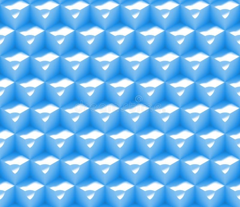 Sömlös bakgrundsmodell för abstrakt begrepp som 3d göras av en samling av kuber med skrattgropar i blått och vit vektor illustrationer
