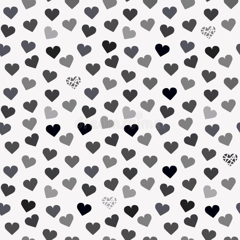 Sömlös bakgrundsmodell med gråa hjärtor royaltyfria foton