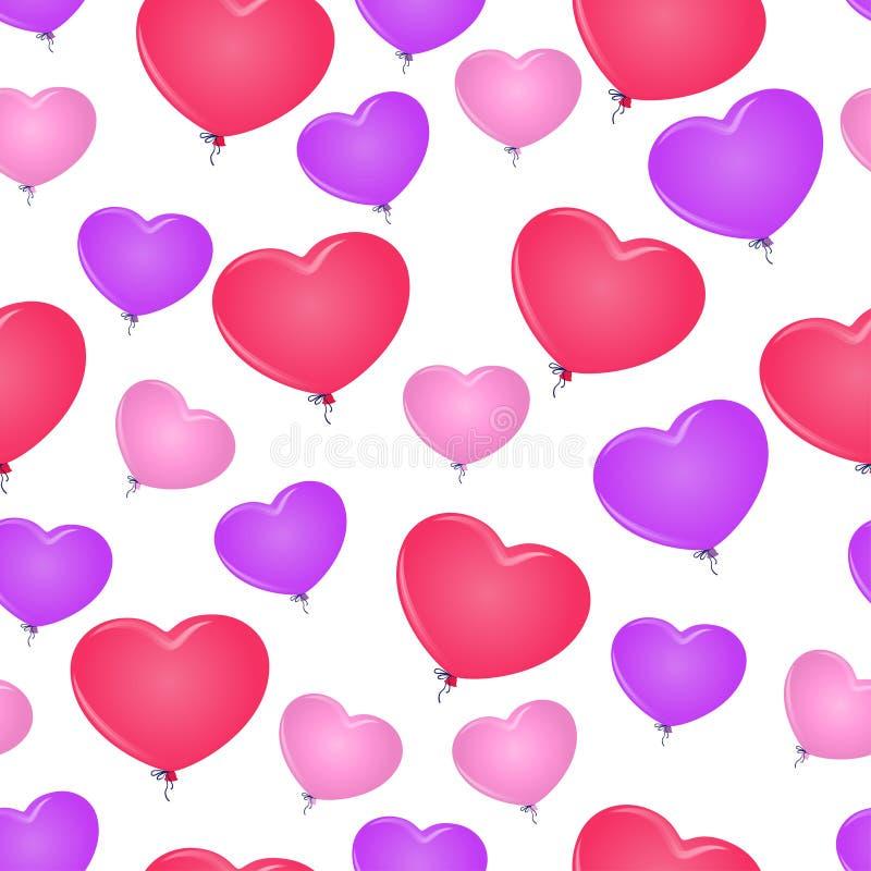 Sömlös ballong för bakgrundsmodell i formen av hjärta royaltyfri illustrationer