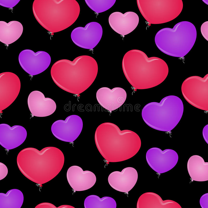 Sömlös ballong för bakgrundsmodell i formen av hjärta stock illustrationer