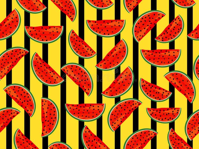 Sömlös bandmodell med vattenmelon Sommarbakgrund för kläder och inre vektor stock illustrationer