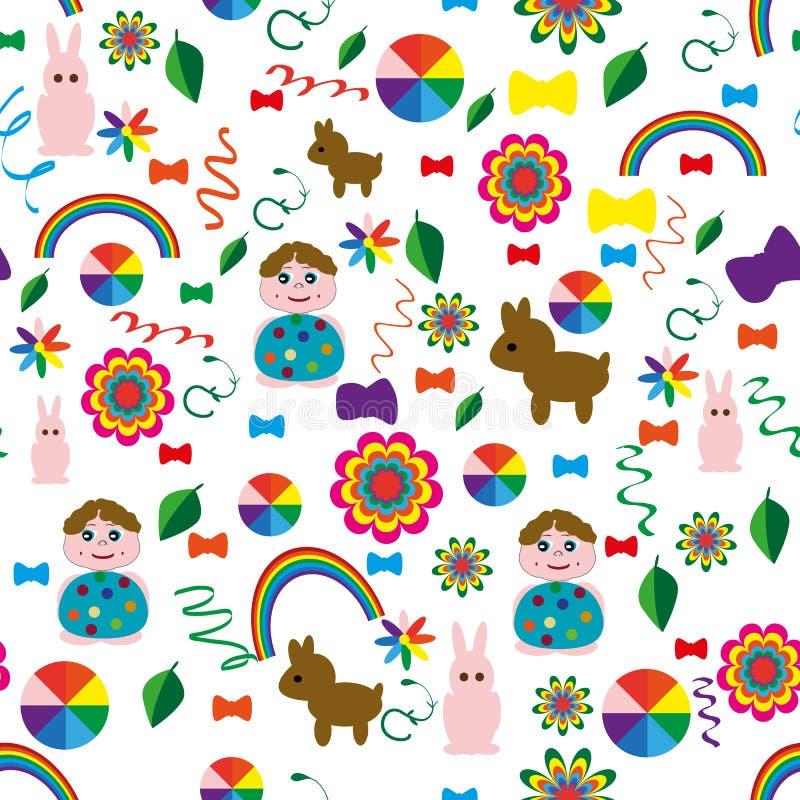 Sömlös-barn-bakgrund-med-en-regnbåge-djur-bollar vektor illustrationer