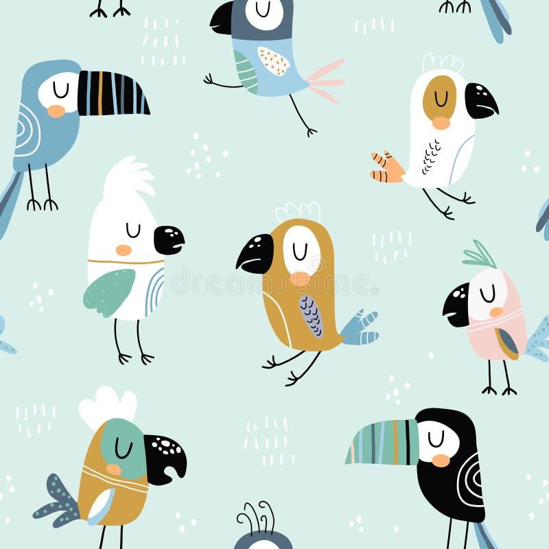 Sömlös barnslig modell med färgrika papegojor och tukan Id?rik scandinavian stilungetextur f?r tyg som sl?r in, royaltyfri illustrationer