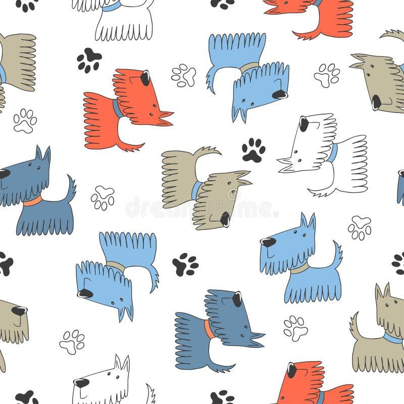 Sömlös barnslig modell med gullig tecknad filmhundkapplöpning stock illustrationer