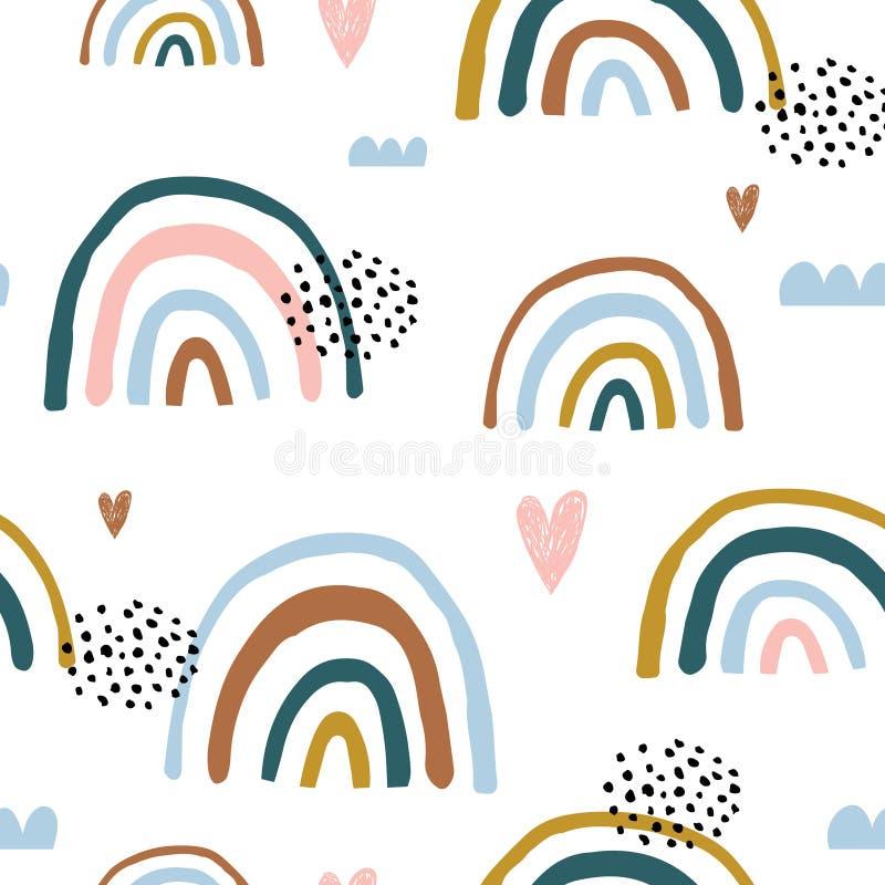 Sömlös barnslig modell med regnbågar och hjärtor för hand utdragna, Idérik scandinavian ungetextur för tyg som slår in, textil, vektor illustrationer