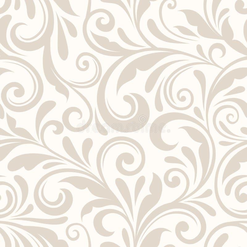 Sömlös beige blom- modell för tappning också vektor för coreldrawillustration vektor illustrationer