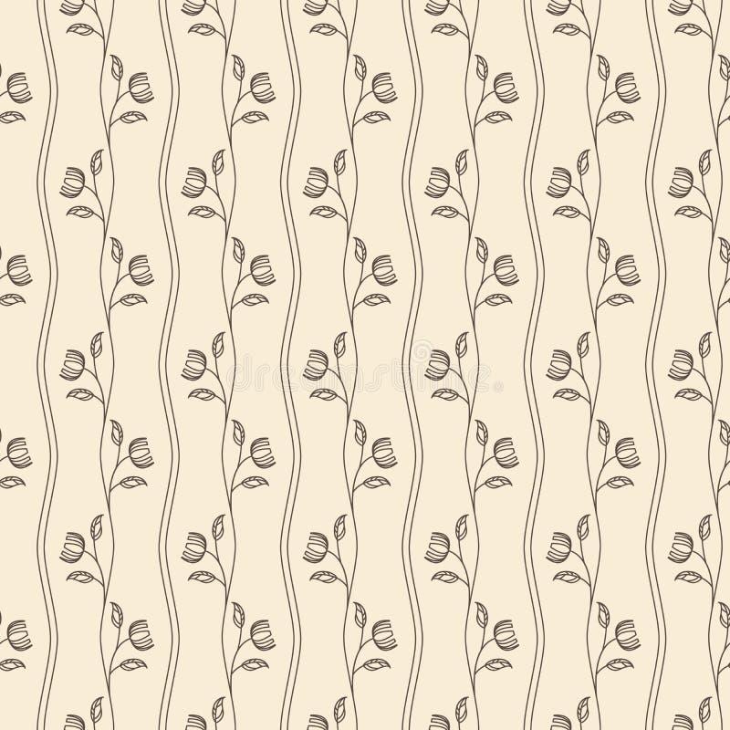 Sömlös beige modell för översiktstappning med blomman vektor illustrationer