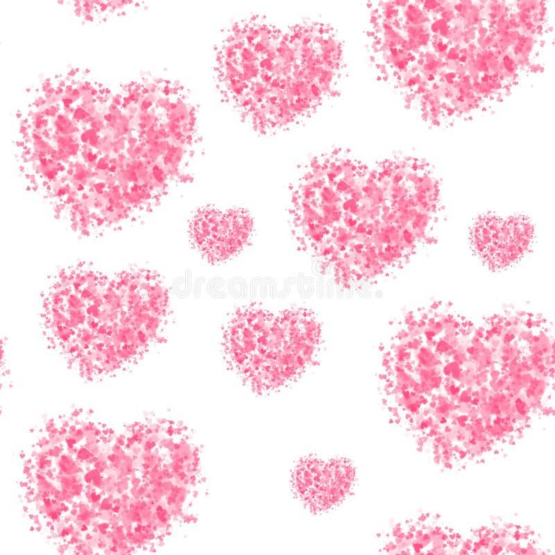 Sömlös belägga med tegel modell för hjärtor på vit bakgrund För valentin dag gåvainpackningspapper vektor illustrationer