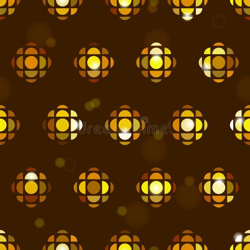 Sömlös belägga med tegel modellbakgrund med den geometriska guld- diskobollen, exponeringar, stjärnor, mousserar stock illustrationer