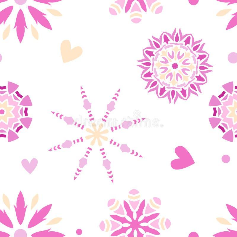 Sömlös belägga med tegel textur med mandalas royaltyfri illustrationer