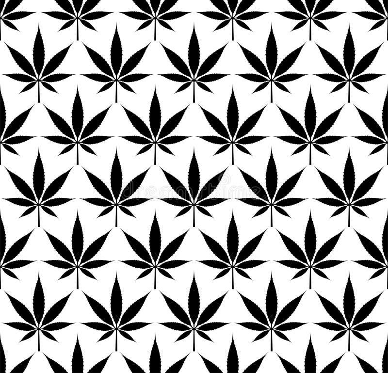 Sömlös bild för vektor för marijuanacannabismodell royaltyfri illustrationer