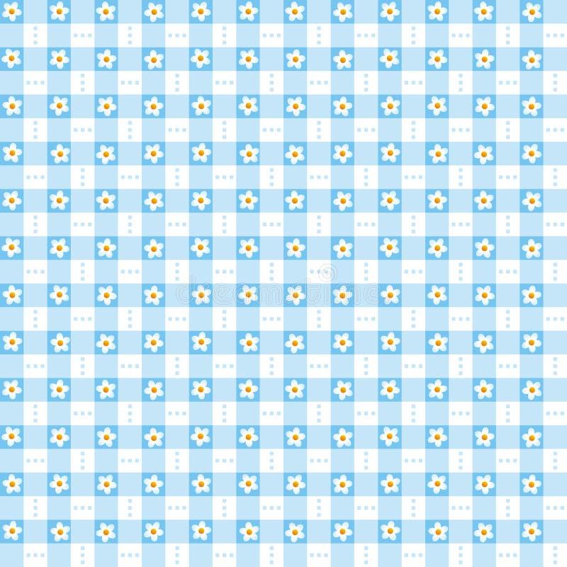 Sömlös blå blom- ginghambakgrund royaltyfri illustrationer