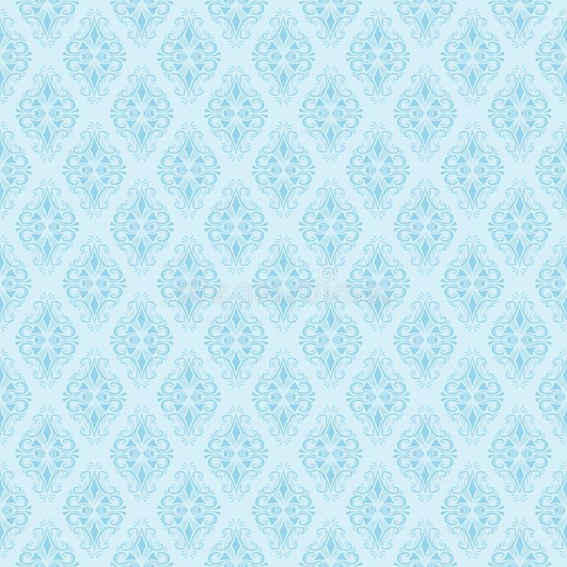 Sömlös blå damast modell också vektor för coreldrawillustration royaltyfri illustrationer