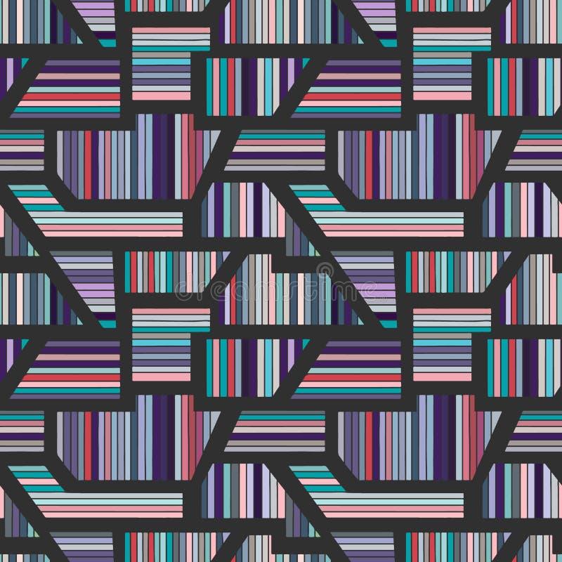 Sömlös blå mörk modell för geometrisk vektor med olika geometriska former Randig fyrkant, triangel, rektangel Modern techno royaltyfri illustrationer
