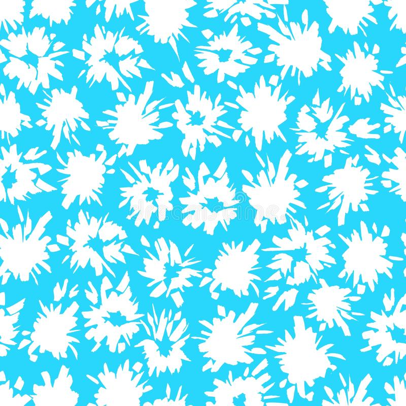 Sömlös blå modell med vita färgstänk och exponeringar royaltyfri illustrationer