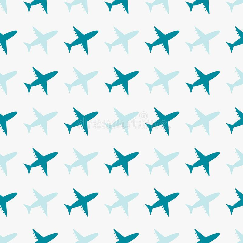 Sömlös blåttmodell för vektor med flygplan royaltyfri illustrationer