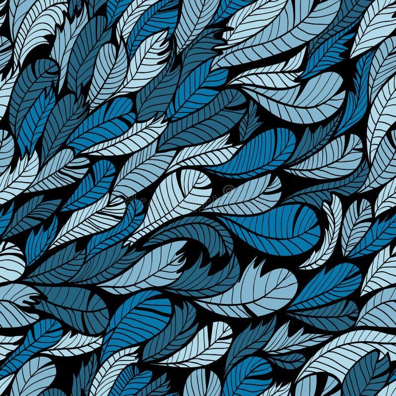 Sömlös blåttmodell med fjädern royaltyfri illustrationer