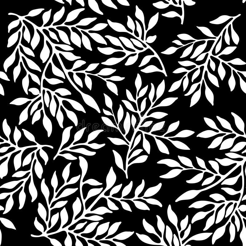 Sömlös bladig prydnad royaltyfri illustrationer