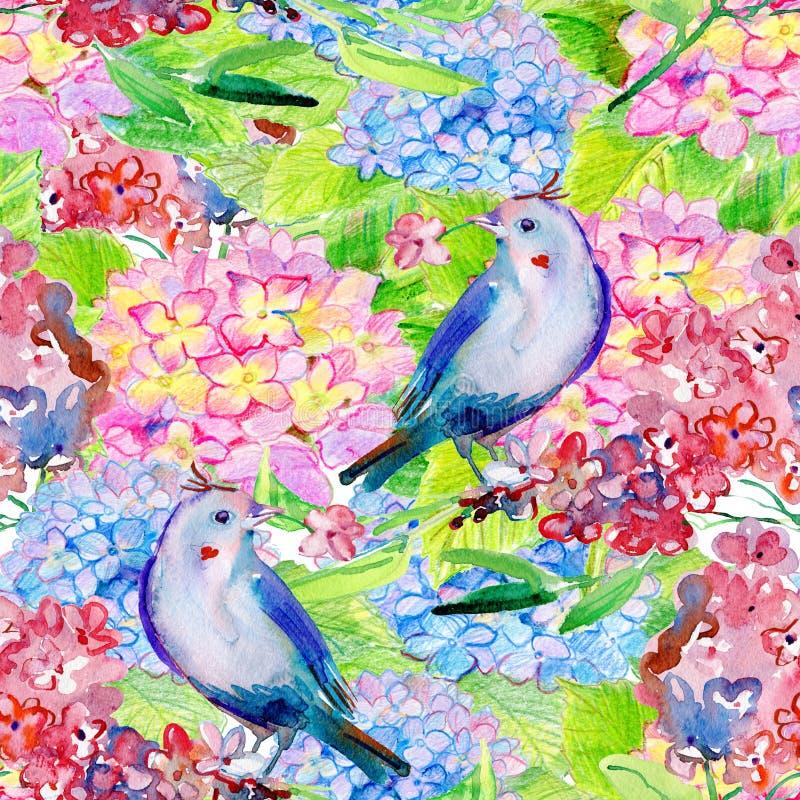 Sömlös blom- bakgrund med blommor och fåglar stock illustrationer
