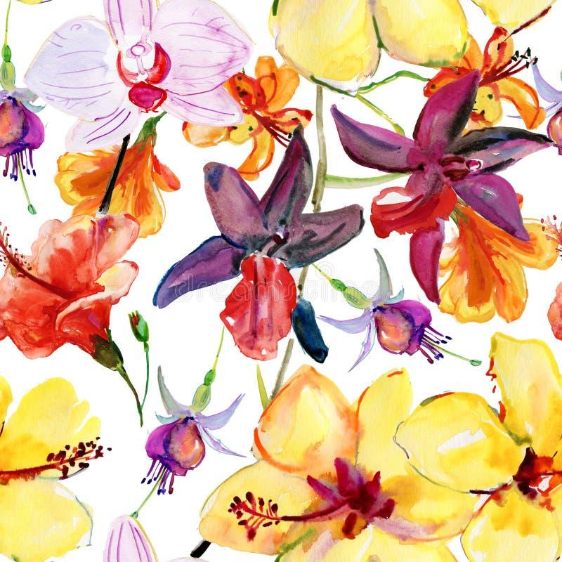 Sömlös blom- bakgrund med tropiska blommor och sidor royaltyfri illustrationer
