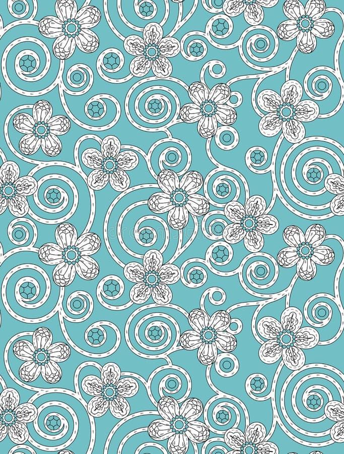 Sömlös blom- blomma med abstrakt bakgrund med himmelfärg vektor illustrationer