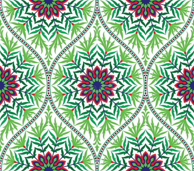 Sömlös blom- damast prydnadbakgrund för vektor royaltyfri illustrationer