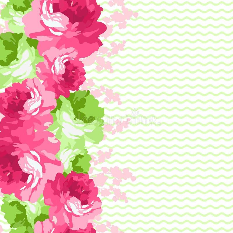 Sömlös blom- gräns med rosa rosor stock illustrationer