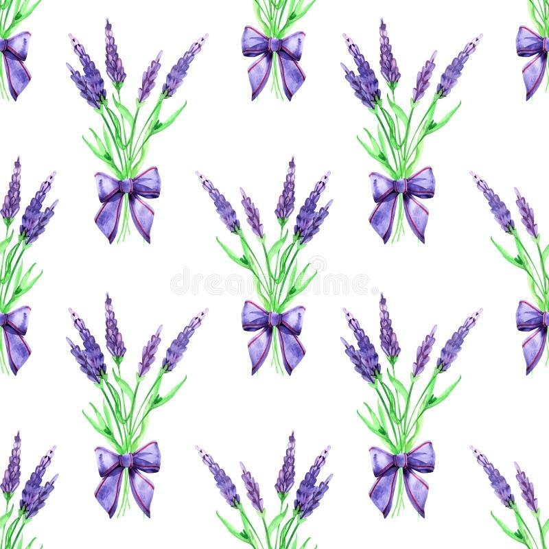 Sömlös blom- lavendel för försiktig vattenfärg Fokus p? f?rgrund vattenf?rg S?ml?s modell f?r tyg, papper och annat arkivfoto