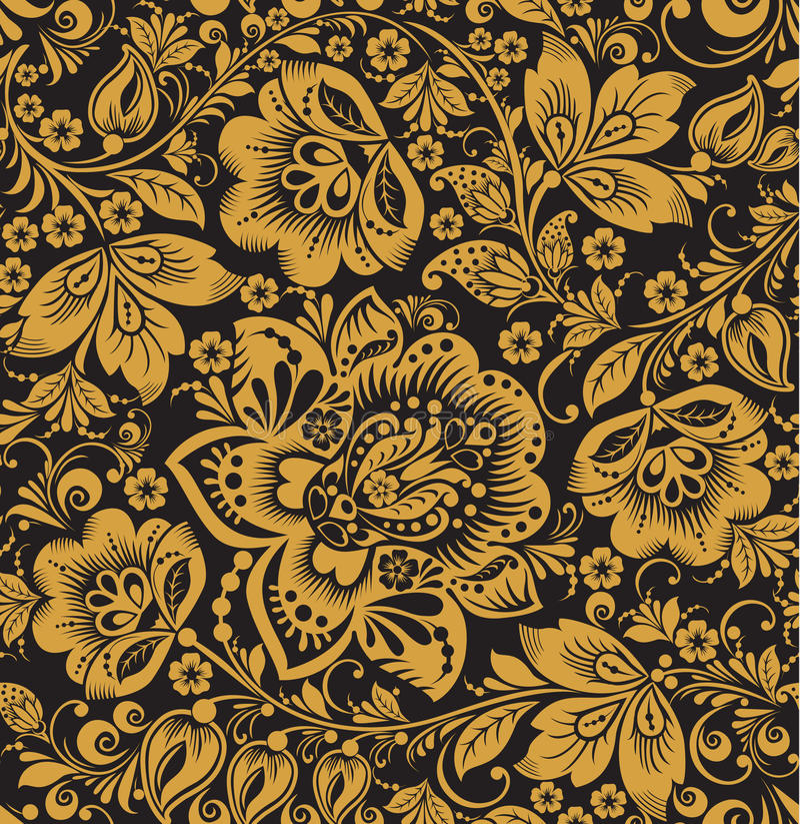 Sömlös blom- modell. Beiga blommar på en guld- bakgrund. royaltyfri illustrationer