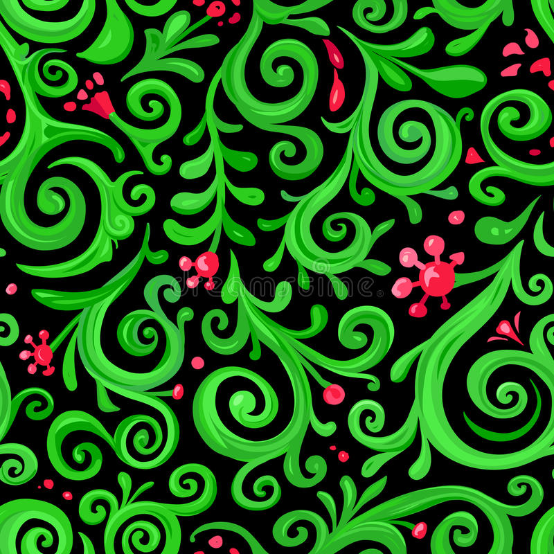 Sömlös blom- modell för textildesign Vektorbakgrund i snirkelstil stock illustrationer