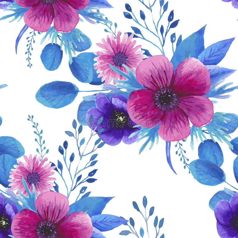Sömlös blom- modell för vattenfärg stock illustrationer