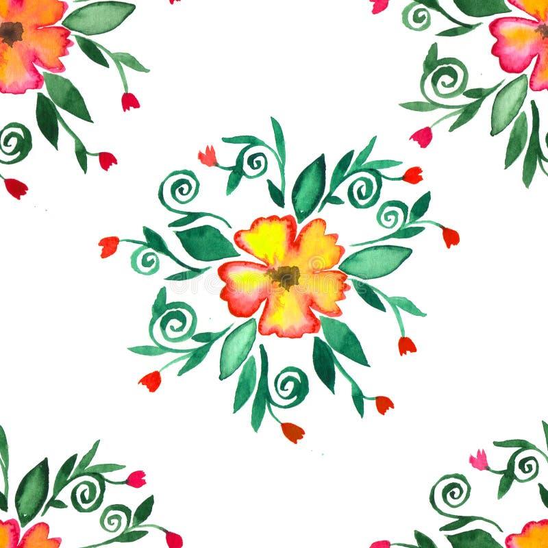 Sömlös blom- modell för vattenfärg med hand målade designbeståndsdelar vektor illustrationer