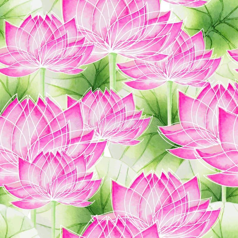 Sömlös blom- modell för vattenfärg med lotusblomma vektor illustrationer