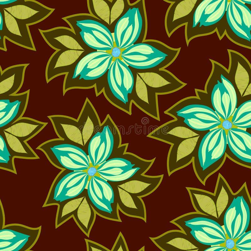 Sömlös blom- modell för vektor, abstrakta blommor på en mörk bakgrund vektor illustrationer