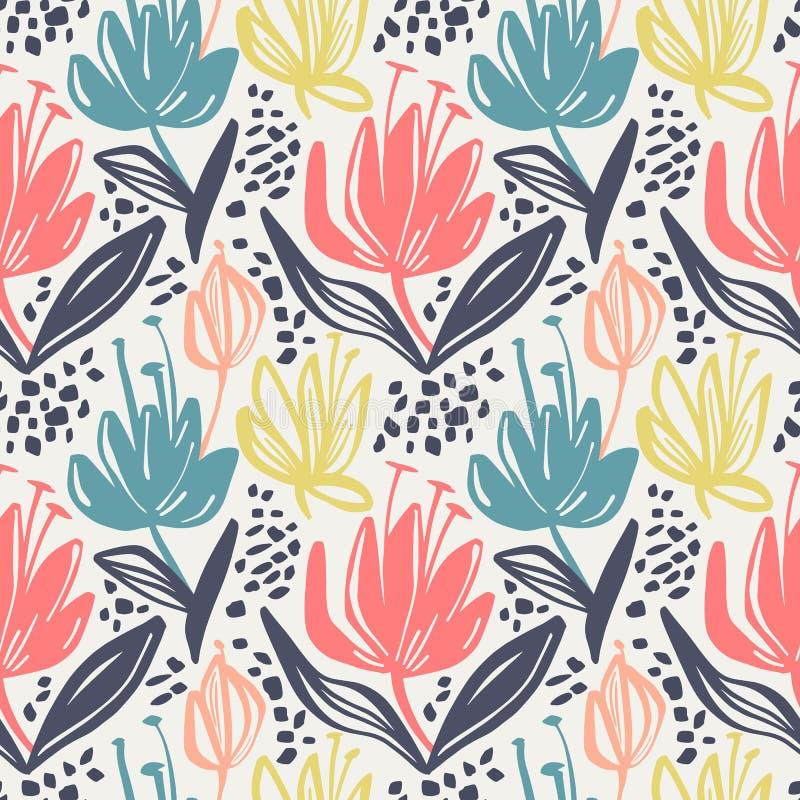 Sömlös blom- modell för vektor med minimalistic blommor för mutafärg på ljus bakgrund, botanisk vårtryckdesign royaltyfri illustrationer