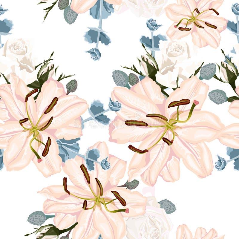 Sömlös blom- modell för vektor med retro blommor Tapet med liljan och vita rosor stock illustrationer
