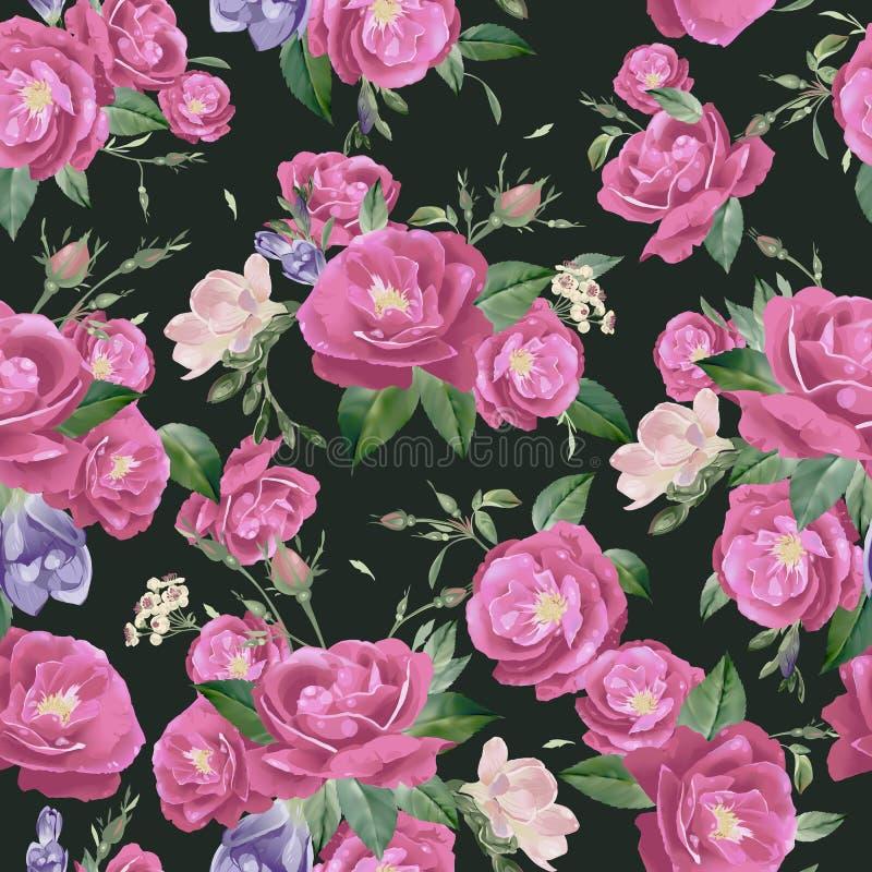 Sömlös blom- modell för vektor med rosor och freesia stock illustrationer
