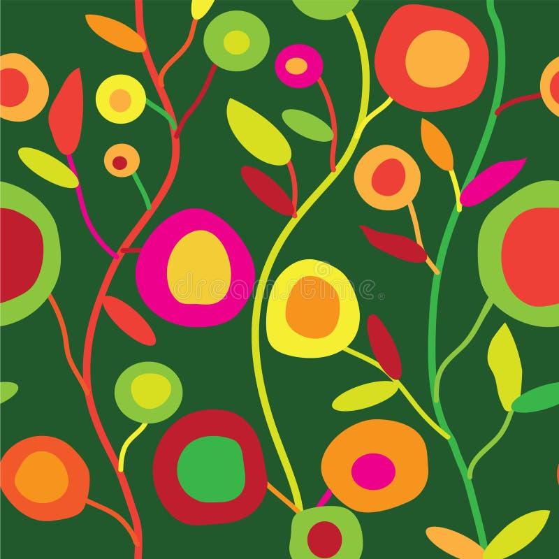 Sömlös blom- modell i enkel dekorativ stil royaltyfri illustrationer
