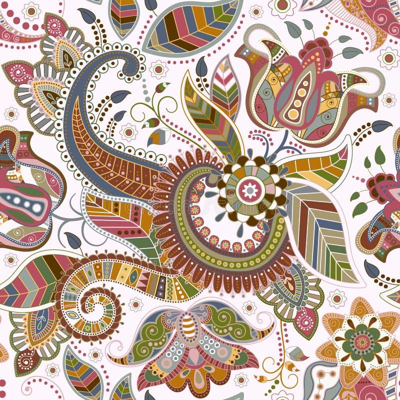 Sömlös blom- modell i etnisk stil stock illustrationer
