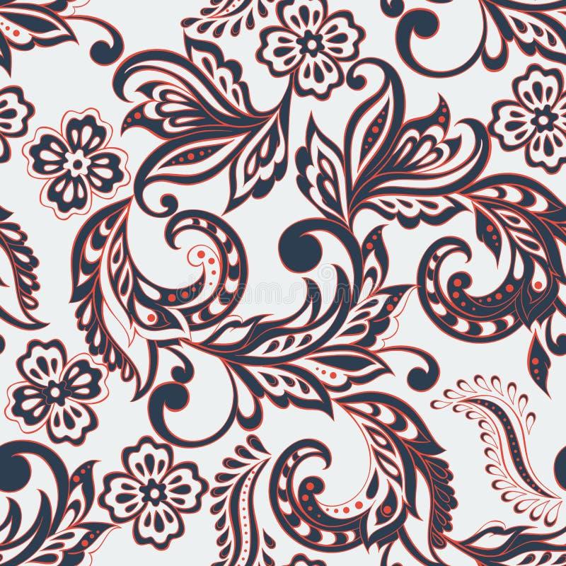 Sömlös blom- modell i indisk mehndistil royaltyfri illustrationer