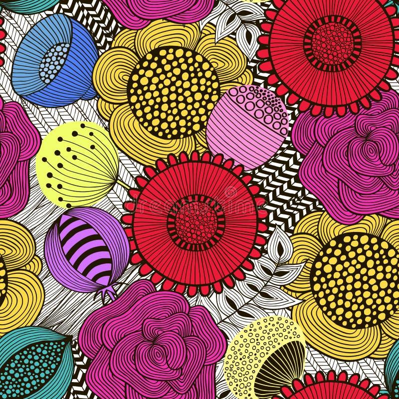 Sömlös blom- modell i klotterstil 2 stock illustrationer