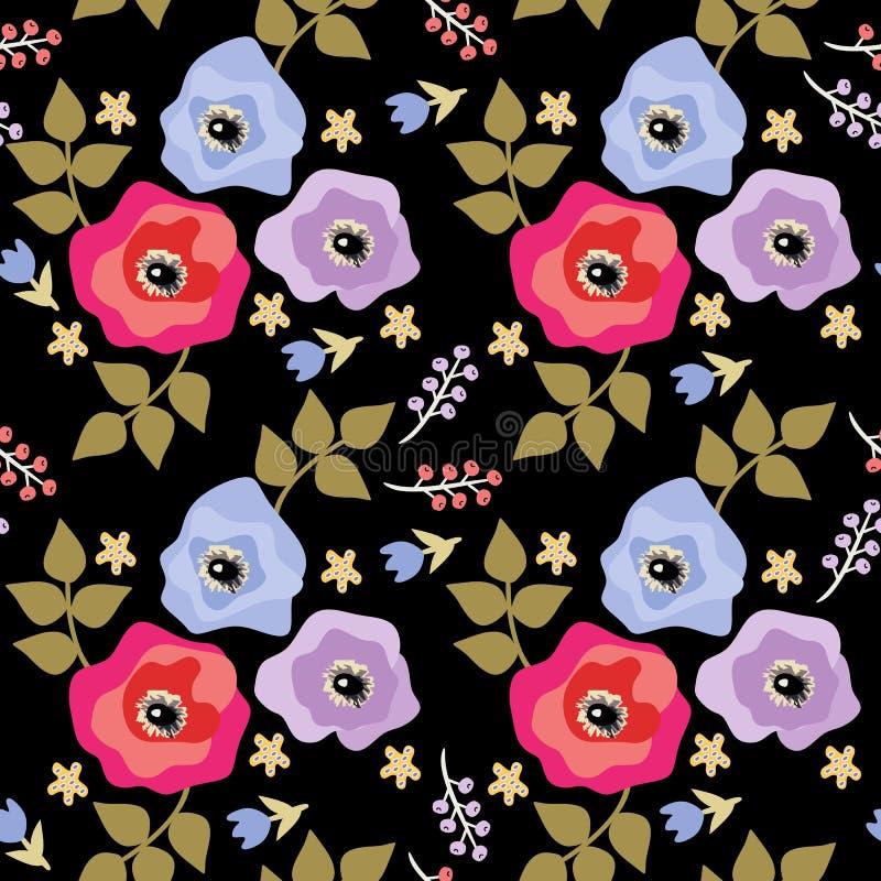 Sömlös blom- modell i lättrogen stil Anemoner och vallmo, hägg och små klockablommor som isoleras på svart bakgrund stock illustrationer