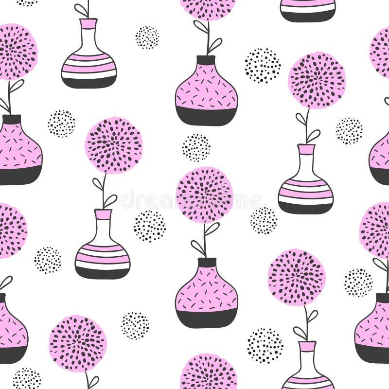 Sömlös blom- modell med abstrakta blommor i vaser vektor illustrationer